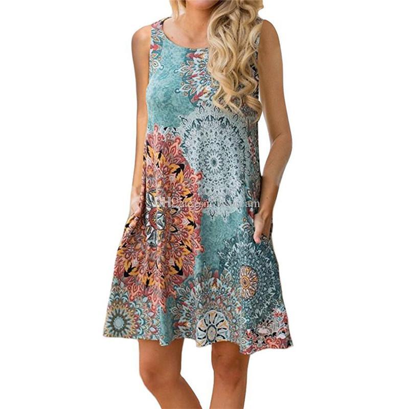 Mode ras du cou imprimé floral Robe sans manches plage desserrées Robes d'été hauts pour femmes vêtements et cadeau sera de sable