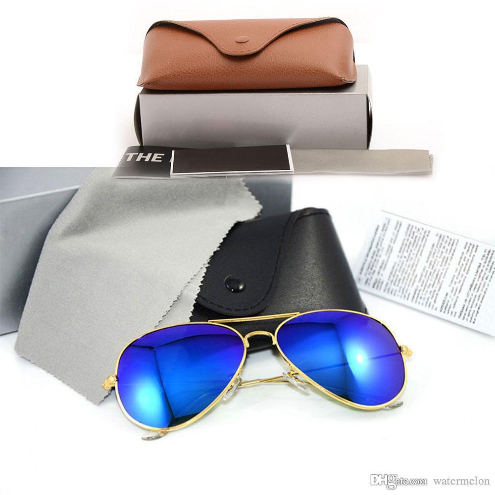 النظارات الشمسية العلامة التجارية الجديدة فيلم اللون عدسة مصمم رجالي نظارات راي مرآة النظارات الشمسية العلامة التجارية نسائي نظارات مع الحالات الأصلية مربع البني