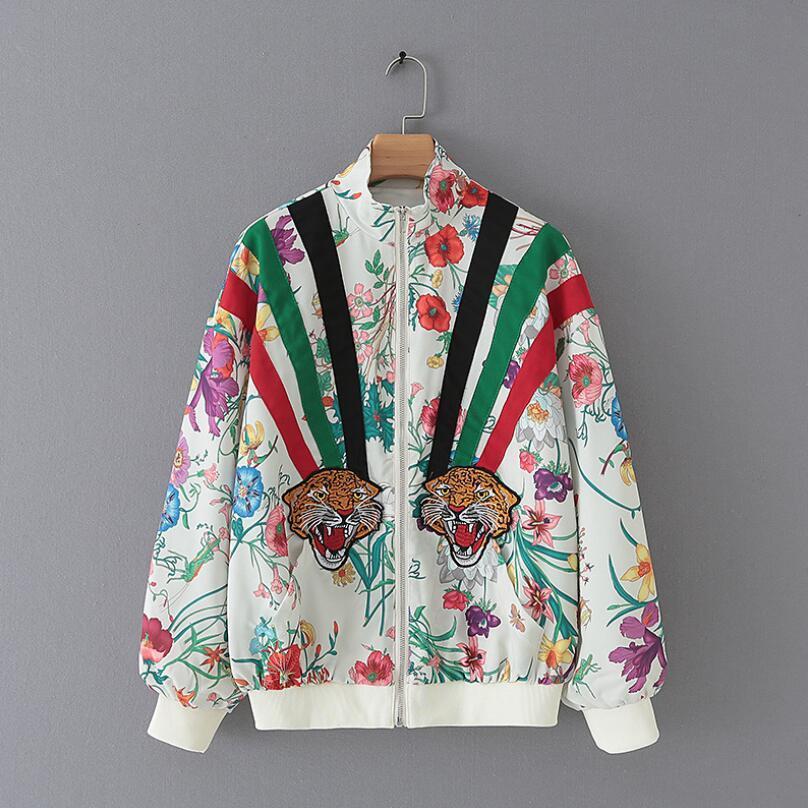 2020 Весна Осень Европа Тайгер голова вышивки Сыпучей куртки способ женщин Printed пальто куртка с длинным рукавом Куртка Mujer w630