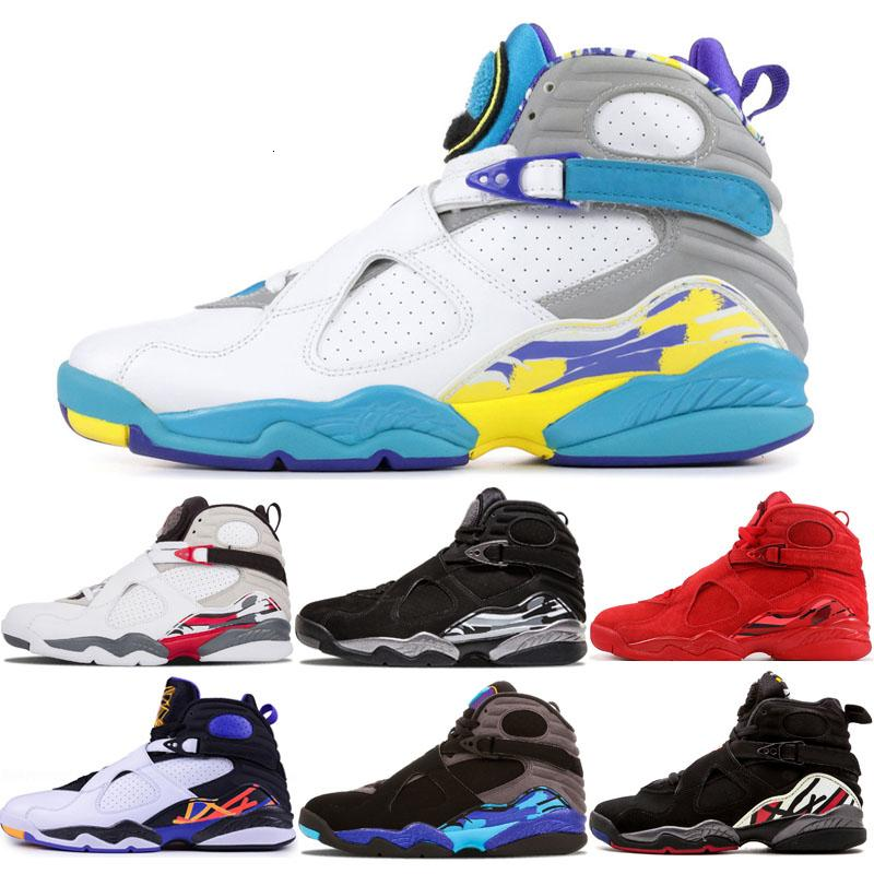 2019 color blanco azulado 8 VII 8s baloncesto de los hombres zapatos para hombre Tres Turba de Aqua cromo de la segunda fase del paquete de cuenta atrás para hombre zapatillas de deporte al aire libre entrenador deportivo
