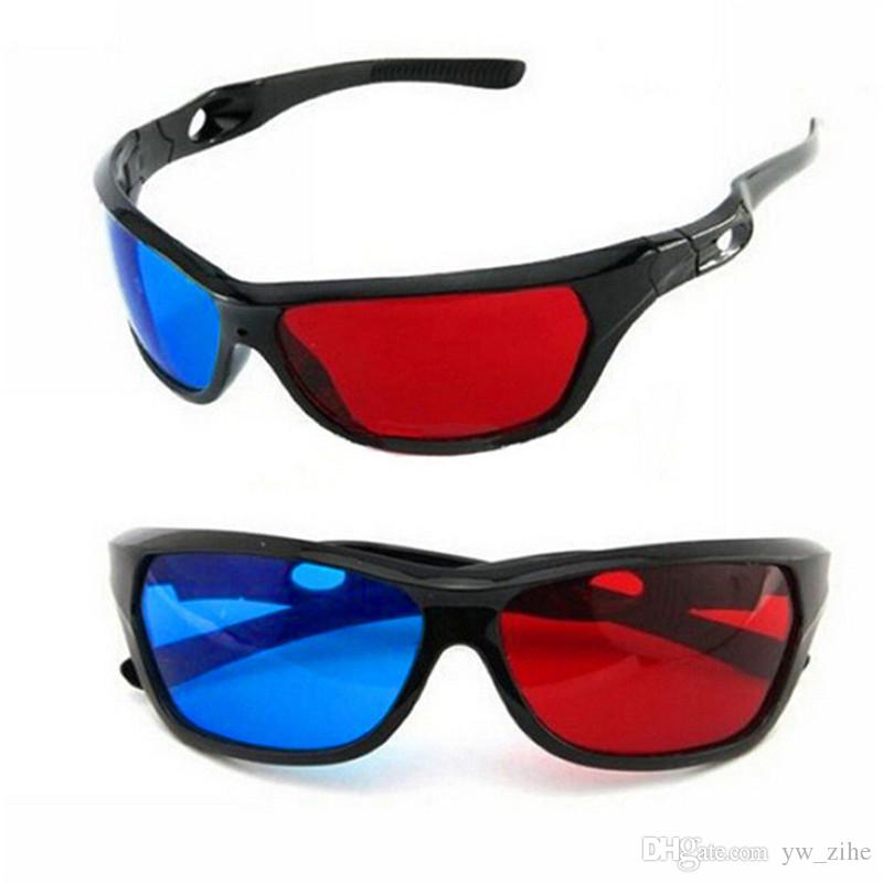 Universal 3D Plastic Glasses Red Blue Black Frame For Dimensional Anaglyph TV Movie DVD Gamesui0008