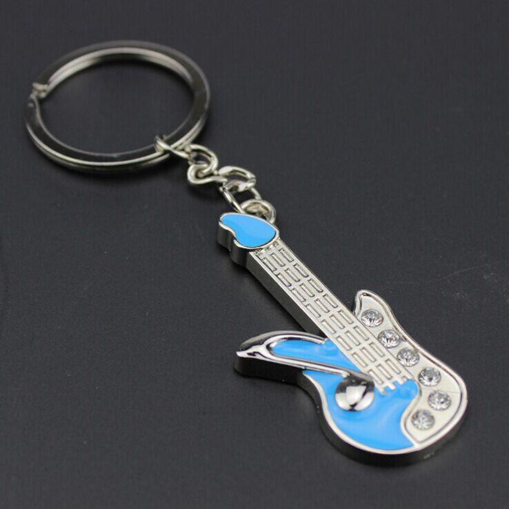 FREE SHIPPING BY DHL 100pcs/lot Mini Zinc Alloy Guitar Keychains Novelty Music Keyrings Gifts for Concert