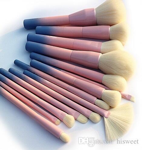 14 pcs pincéis de maquiagem conjunto gradiente cor foundation cosmético olho kits pincel pincel maquiagem ferramenta de escova