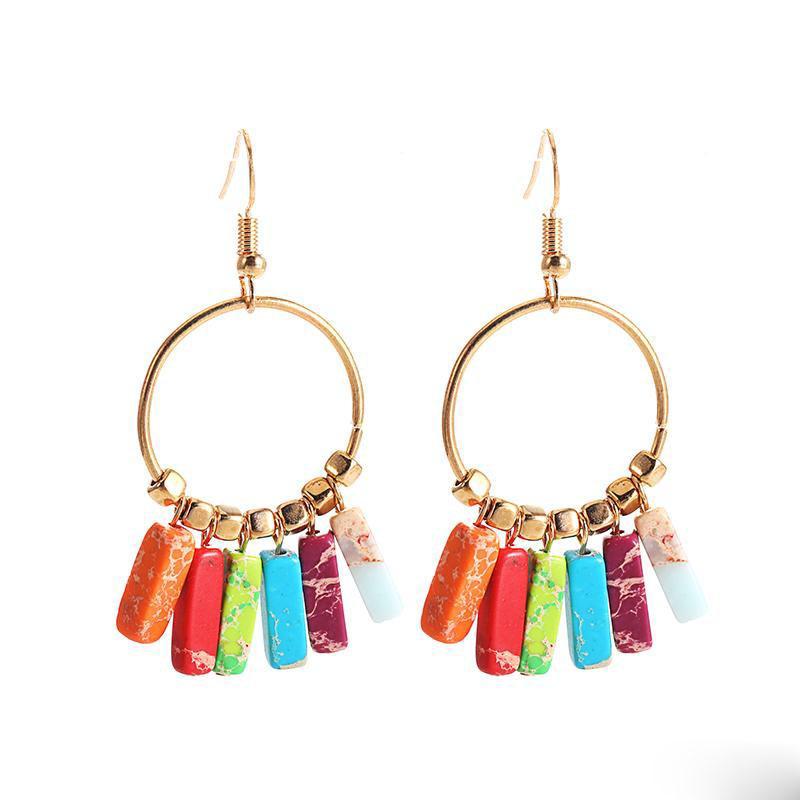 Coloré pierre naturelle mode Dangle boucles d'oreilles pour les femmes de Bohême Creative Big Circle Boucles d'oreilles Summer Beach Bijoux