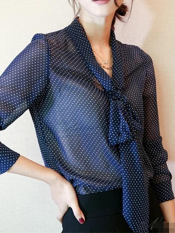 Frühling Herbst Frauen lace - up Kragen Hemd Polka Dot weiche Damen Büro Bluse weibliche elegante Langarm Shirts top Dunkelblau