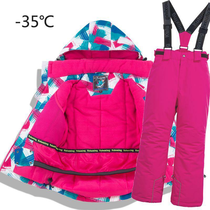 Niños térmica de esquí traje pantalón impermeables + chaqueta de calidad Niño Niña Invierno de deportes a prueba de viento Kid esquí y de snowboard 2pcs LY191225