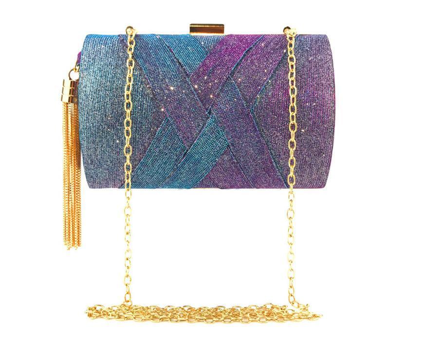 2020 Горячей Мода дама руки проведение мешок вечер Изменение цвета Satin кисточка Банкет сумка