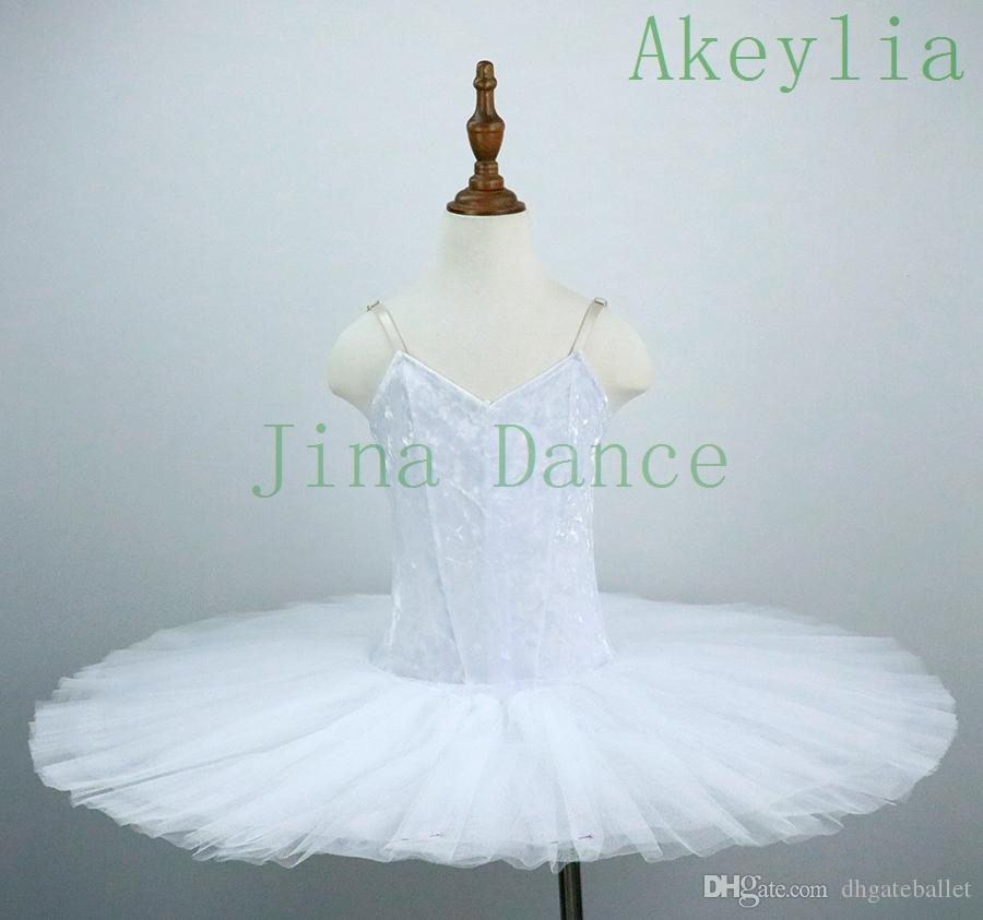 Without Decoration Adult White Swan Ballet Tutu Practice Pancake TUTU Costumes Dress Dance Loetards Girls Sleeping Beauty Performance Dance