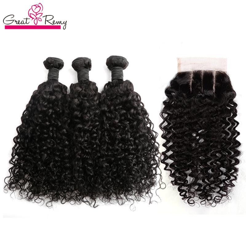 Braziliaanse diepe krullende haarbundels met sluiting 4x4 Braziliaanse menselijke haar inslag met sluiting 3 deel Virgin Hair Extension Natural Color 4pc / lot