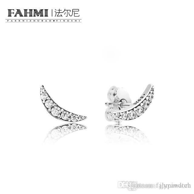 FAHMI 100% 925 Sterling Silver 297569CZ Lunar Light Earring Studs Original Women's Winter Fashion Gift Jewelry