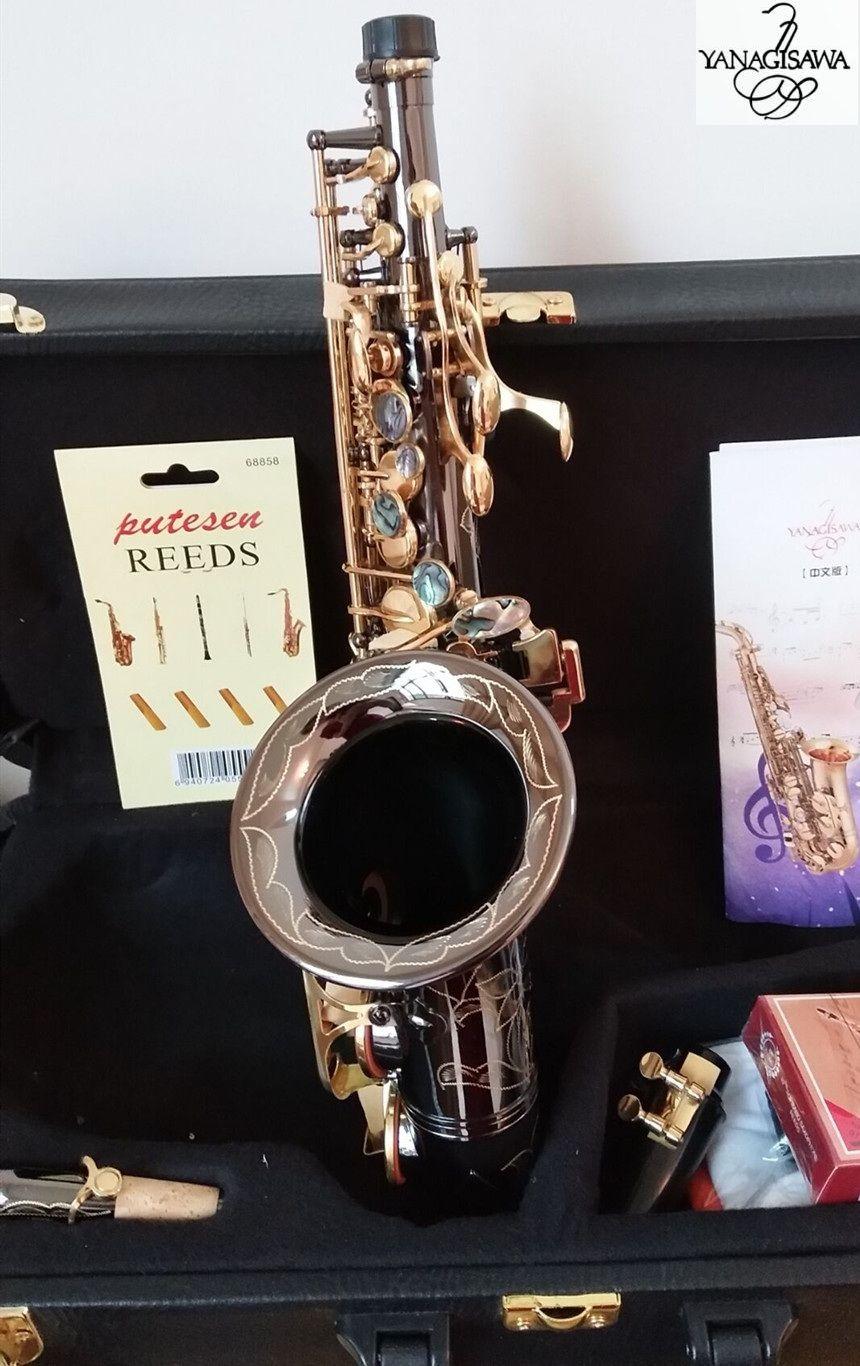 Hohe Qualität gebogenes neues Sopransaxophon Japan Yanagisawa S-991 B Musikinstrumente des flachen Saxophons Schwarz-Nickel-Gold Berufsverschiffen