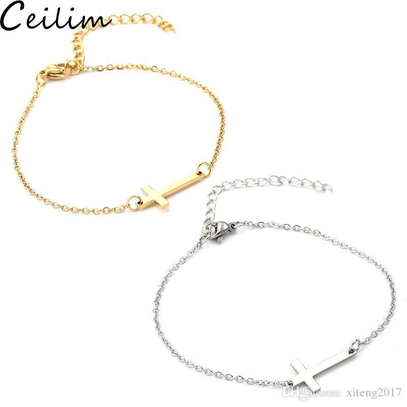 Nouveau Bracelet Croix en acier inoxydable Charm or couleur argent Pendentif chaîne Bracelets Bracelets pour Femmes Hommes Mode Bijoux Amitié Cadeau