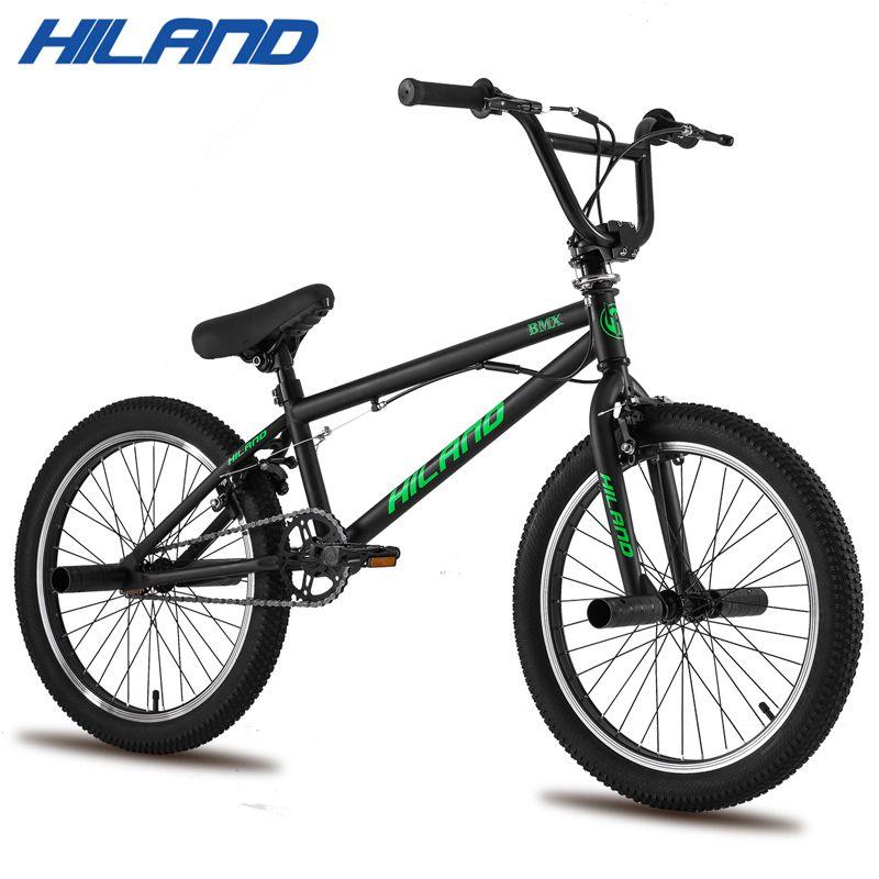 Bikes Hiland 10 Colorseries 20 ''BMX 자전거 프리 스타일 스틸 자전거 더블 캘리퍼스 브레이크 쇼 스턴트 곡예