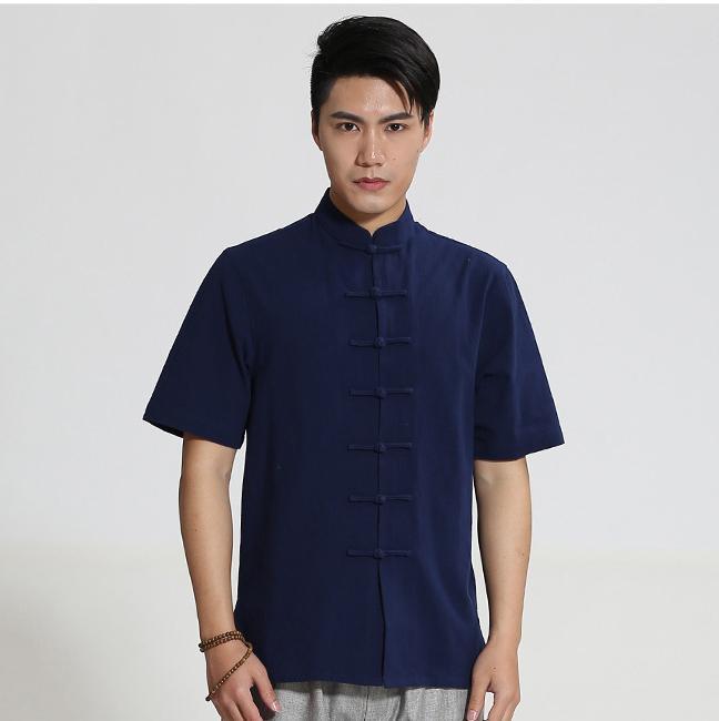 2020 Yeni Çin Erkekler Pamuk çuha Gömlek El yapımı Düğme Kısa Kollu Üst Giyim M XL XXL XXXL CM25163