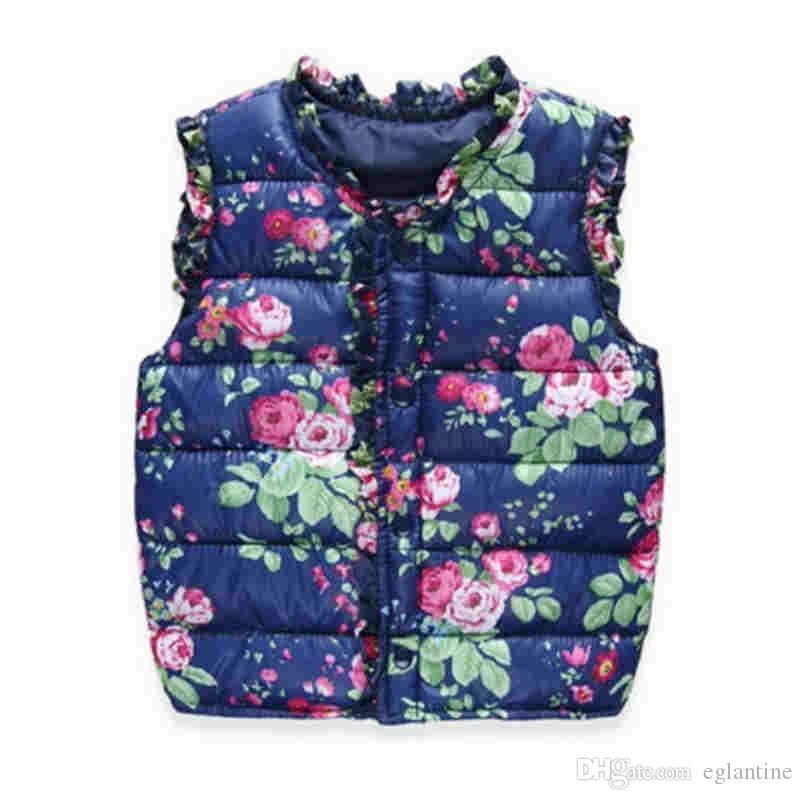 Mädchen Kinderweste Kinder unten Cotton warme Weste Baby süße Blumen Weste Kinder Kleidung Weste Jackenmantel