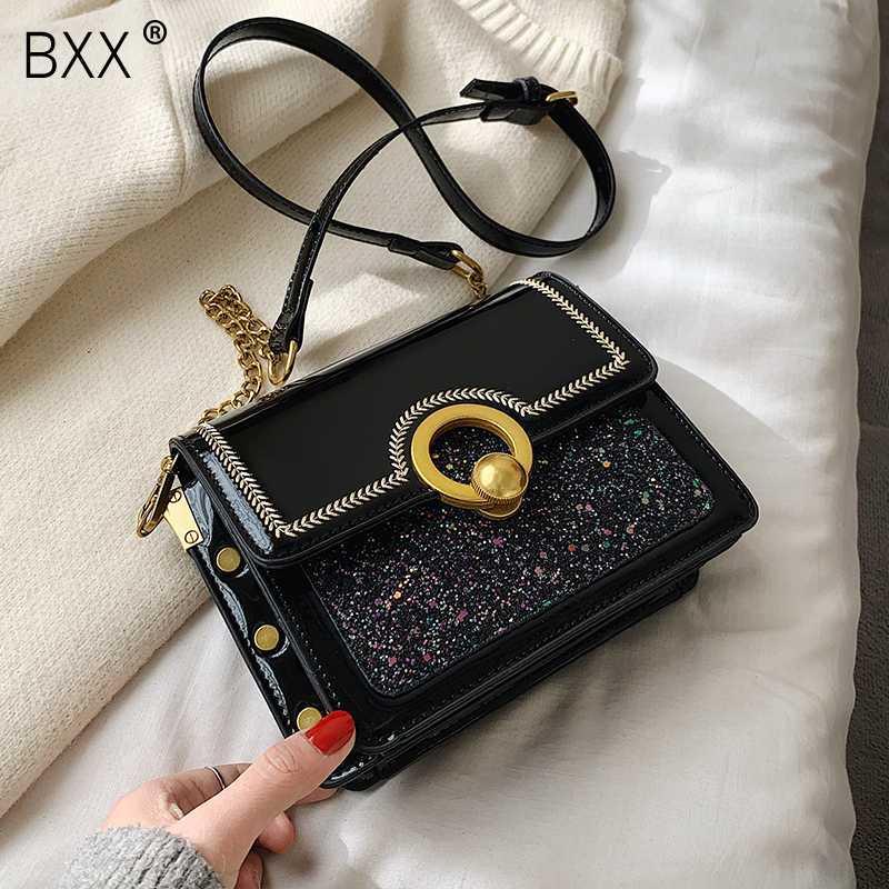 [BXX] Sequined лакированной Crossbody Сумка для женщин 2020 Новой цепи плеча сумки женщина сумки и кошельки HK273