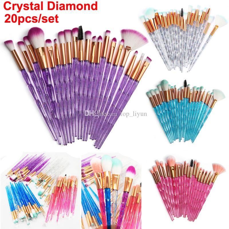 다이아몬드 메이크업 브러쉬 20PCS 세트 화장품 브러시 키트 얼굴과 눈 브러쉬 퍼프 배치 크리스탈 브러쉬 립 재단은 DHL에 의하여 아름다움 도구 브러쉬