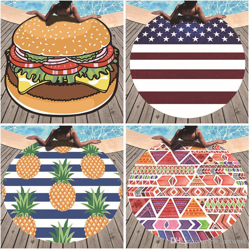 2019 CALIENTE Verano Ronda Toalla de Playa para Mujeres Poliéster Moda Playa Chal bufanda Nadar Tomar el sol Manta al aire libre Picnic mat
