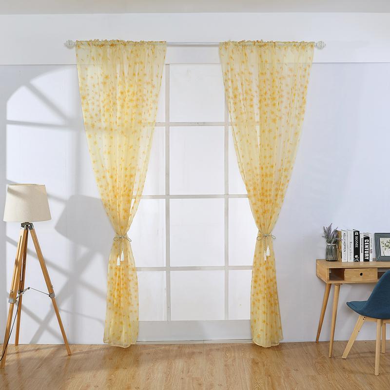 2019 현대적인 스타일 쉬어 보일 커튼 창 커튼 거실 현대 자수 얇은 명주 그물 커튼 쉬어 커튼 장식