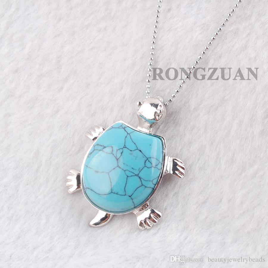 "Natural Stone Turquoise Dangle Pendants Women Jewelry Fashion Animal Tortoise Shape Pendant Necklace Chakra Chain 18"" DN3738"