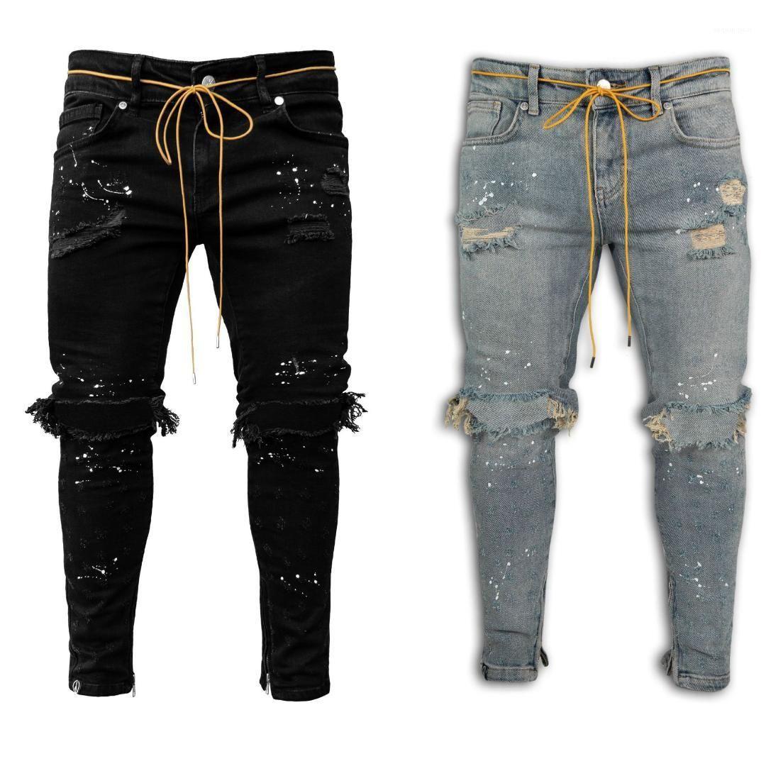 Men Designer Pencil Pants Casual Fashion Comfortable Four Seasons Male Pants Hole Patchwork Paint Mens Jeans Slim