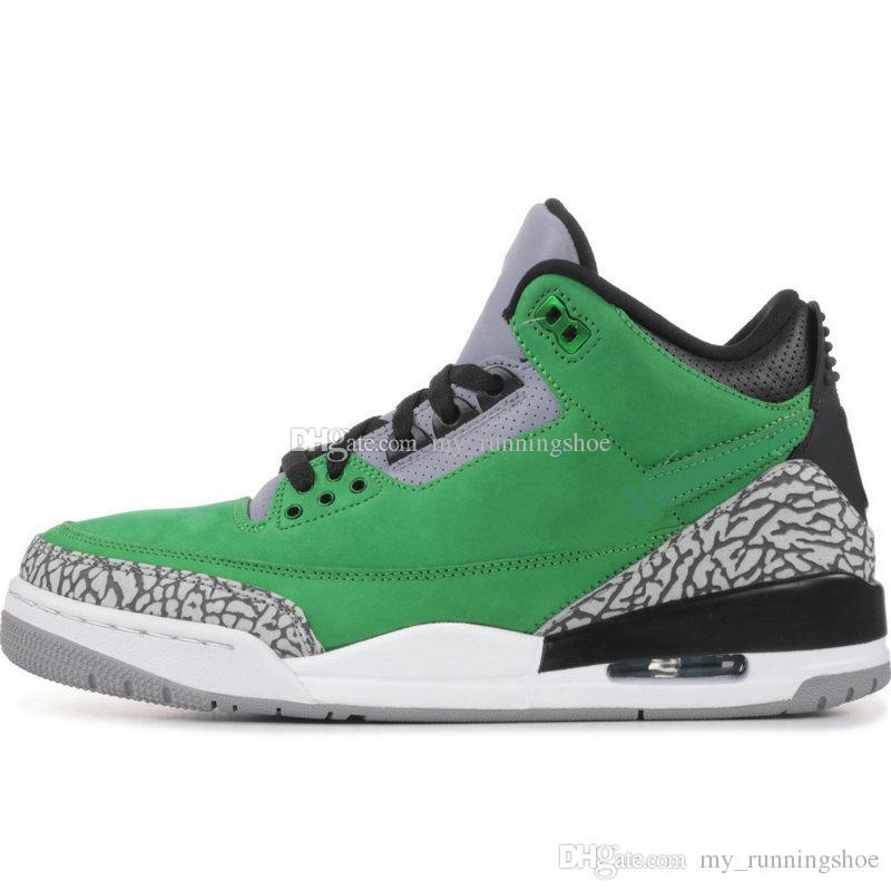2019 Новый высокое качество 3 Tinker Oregon Duck Зеленый Черный Цемент 3s мужские баскетбольные кроссовки Дышащая мужская обувь Размер 40-47