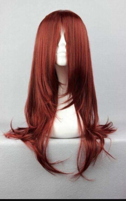 WIG LL<<< 002226 New Kunieda Aoi Fashion Long Dark Red Cosplay Wig Kanekalon Fiber no lace Hair full Wigs