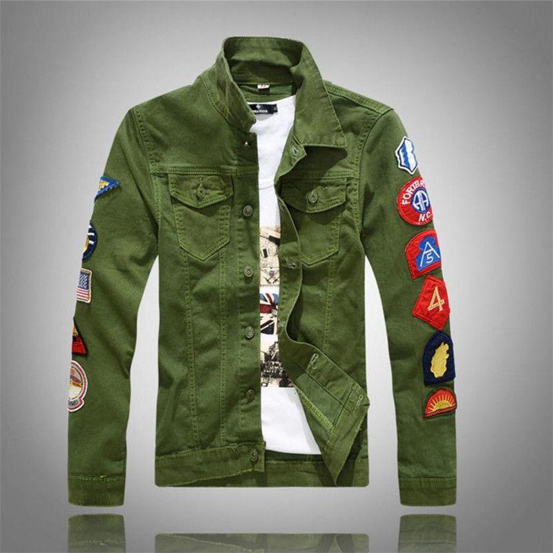 2018 Nuovo denim uomo giacche con toppe Slim Fit Jean Jacket For Men Dimensione Verde Bianco Turn Down cappotto collare