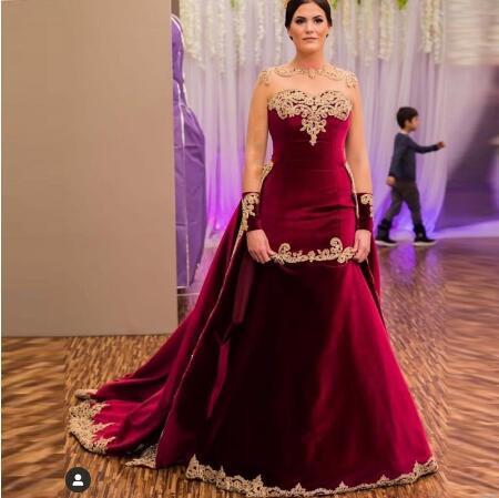2020 Burgundy Sheer Neck Arabic Dubai Wedding Dresses sheer back Detachable Train gold Lace Beaded Mermaid Wedding Gowns Velvet Bridal Dress
