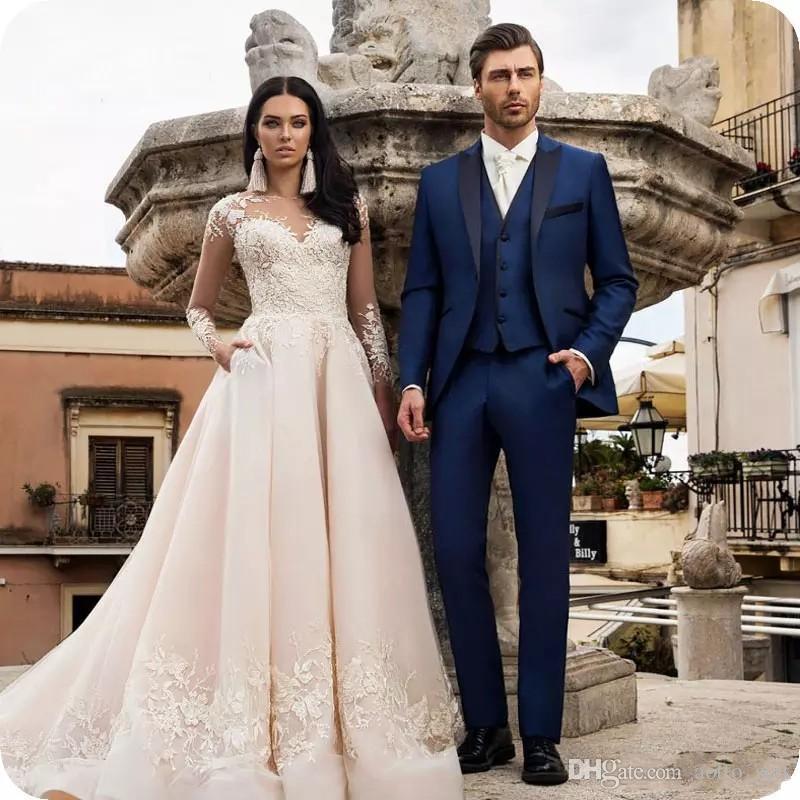 Mode bleu marine smokings marié pointe Lapel Slim Fit Hommes de mariage Smokings excellent homme Blazer 3 Piece Suit (Veste + Pantalon + Gilet + Tie) 57