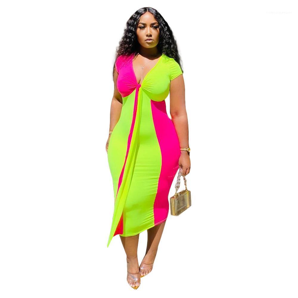 V cuello de Bodycon de los vestidos Las hembras grande del arco Fajas Ropa atractivo de las señoras del color del contraste vestido de verano de las mujeres más el tamaño de diseñador