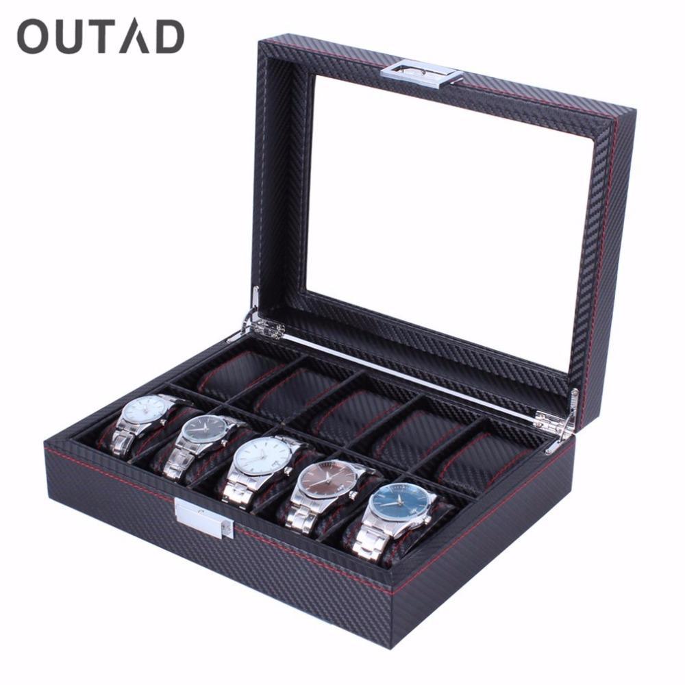 10 Grids Kohlefaser Muster Uhrenbox Uhr Halter Aufbewahrungsbox Schmuck Display Rechteck Schwarz Farbe Fall