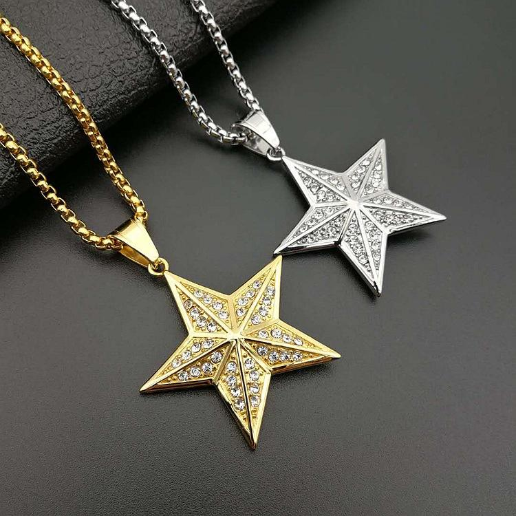New Hip Hop Jewelry Titanium Steel Gold Plated Diamond-Encrusted Three-Dimensional Five-Pointed Star Pendant Necklace