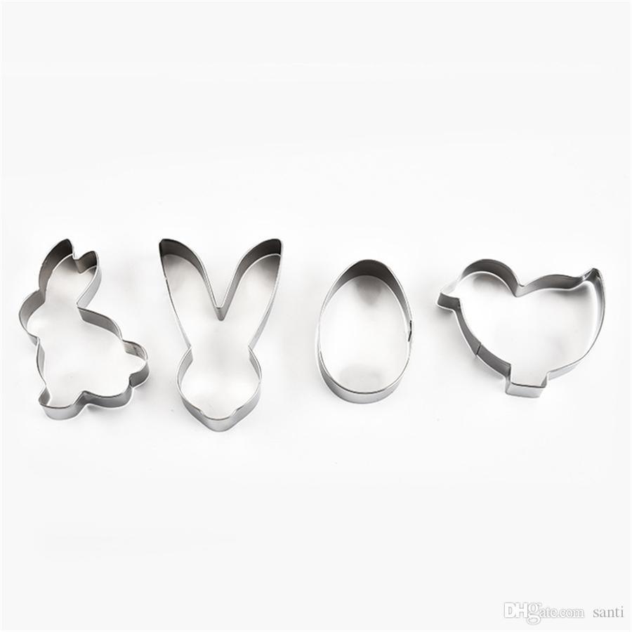 스테인레스 스틸 비 - 스틱 쿠키 비스킷 금형 커터 3D 버니 토끼 계란 금형 주방 베이킹 도구 부활절 장식 JK2001