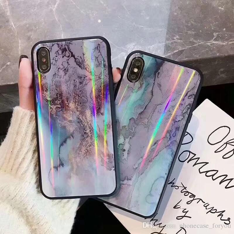 Custodia per iPhone XS Max Xr 6 7 8 Plus X Pendient Aurora Cassa in vetro colorato temperato per cellulare