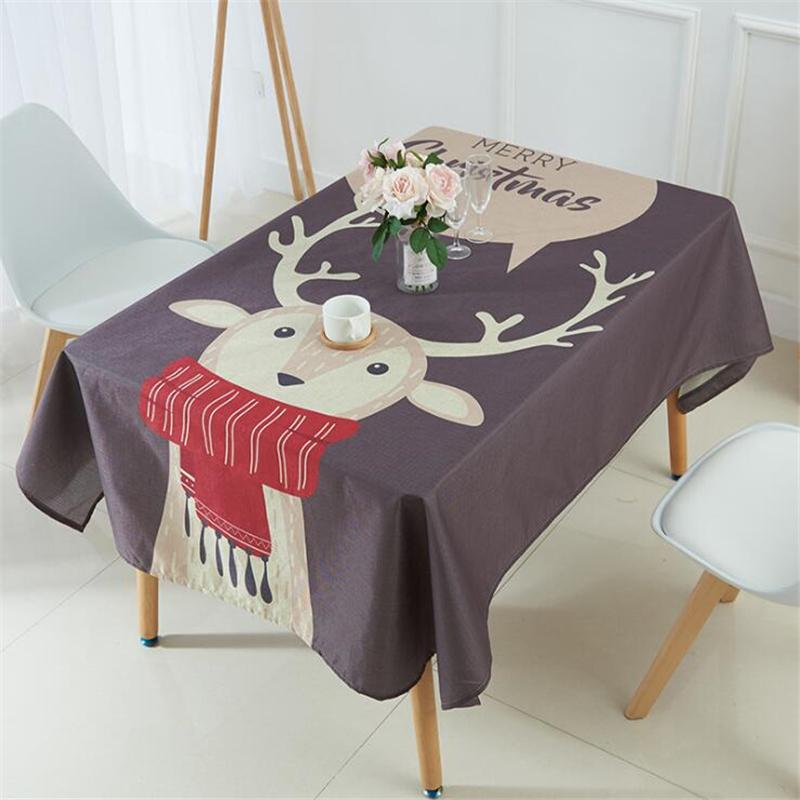 Linen Tablecloth Merry Christmas Gift Deer Decorative Pattern Printed Dinner Table Cloth Home Decor Custom Size