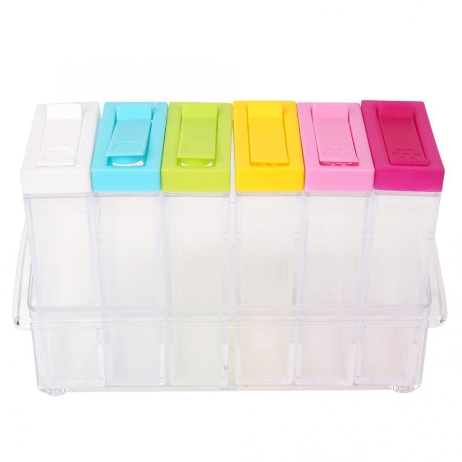 6 slots Transparent Seasoning Box Clear Spice Rack Organizer Condiment Holder Kitchen Tools Salt Condiment Cruet Storage box