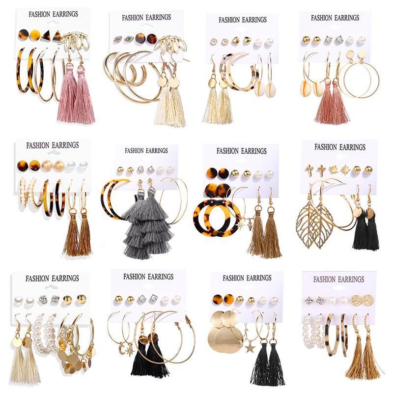 New Vintage Tassel Earrings For Women Bohemian Earrings Set Mix Stud Earring Acrylic Geometric Drop Earring Set Brincos HZ