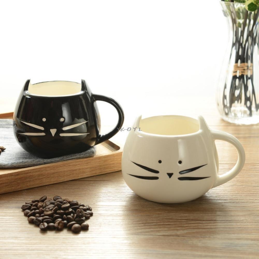 Cute Cartoon Cat Coffee Milk Tea Drink Ceramic Mug Cup White/ Black Lover Kid Gift T200506
