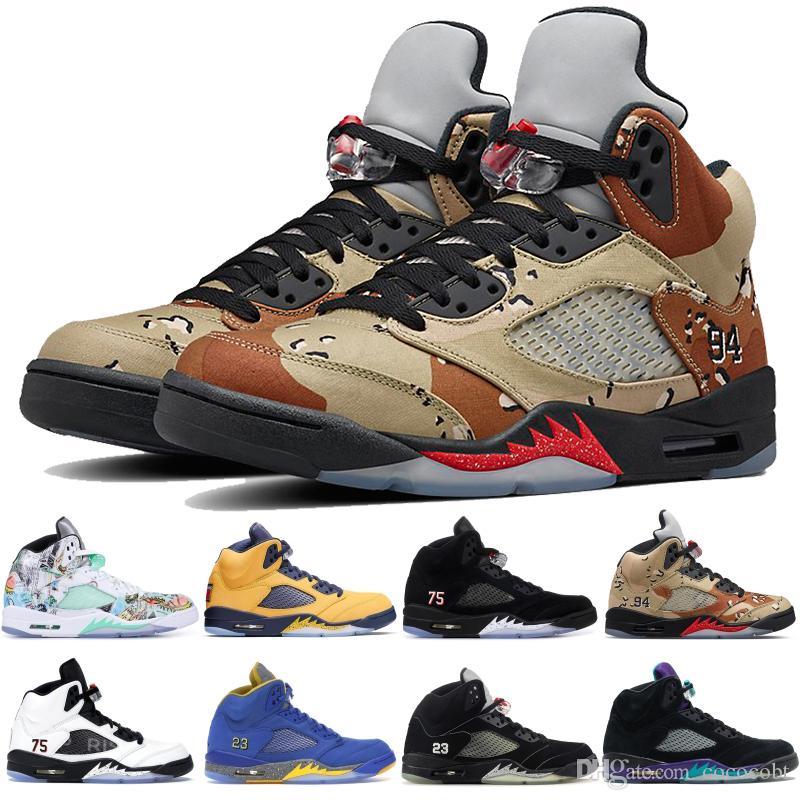 jordan 5s jumpman Zapatos Michigan Laney Varsity Royal Wings de baloncesto del Mens uva PSG impresión de Camo zapatillas de deporte de diseño de cuenta atrás Paquete Seme Negro