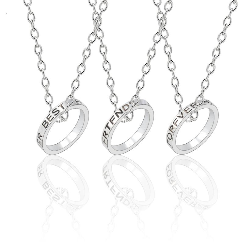 3 pièces / set Best Friends Colliers toujours ronde en argent Collier simple pendentif pour les femmes Filles sœurs Bff Amitié Bijoux