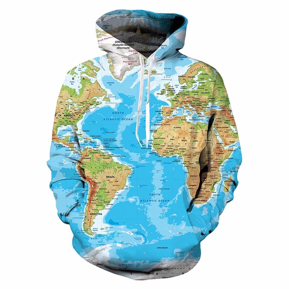 World Map Hoodie Sweatshirt Terre Sweat Shirt 3D Funny Hommes Vêtements Hommes Cool Hip Hop Sweat À Capuche Streetwear Automne Unisexe À Capuche Top