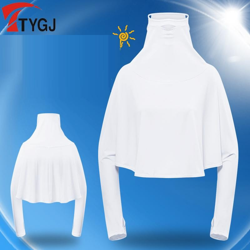 Summer Women Sun Protection Golf Shirts Batwing Long Sleeve Training Tops Ice Silk Tees With Mask D0812