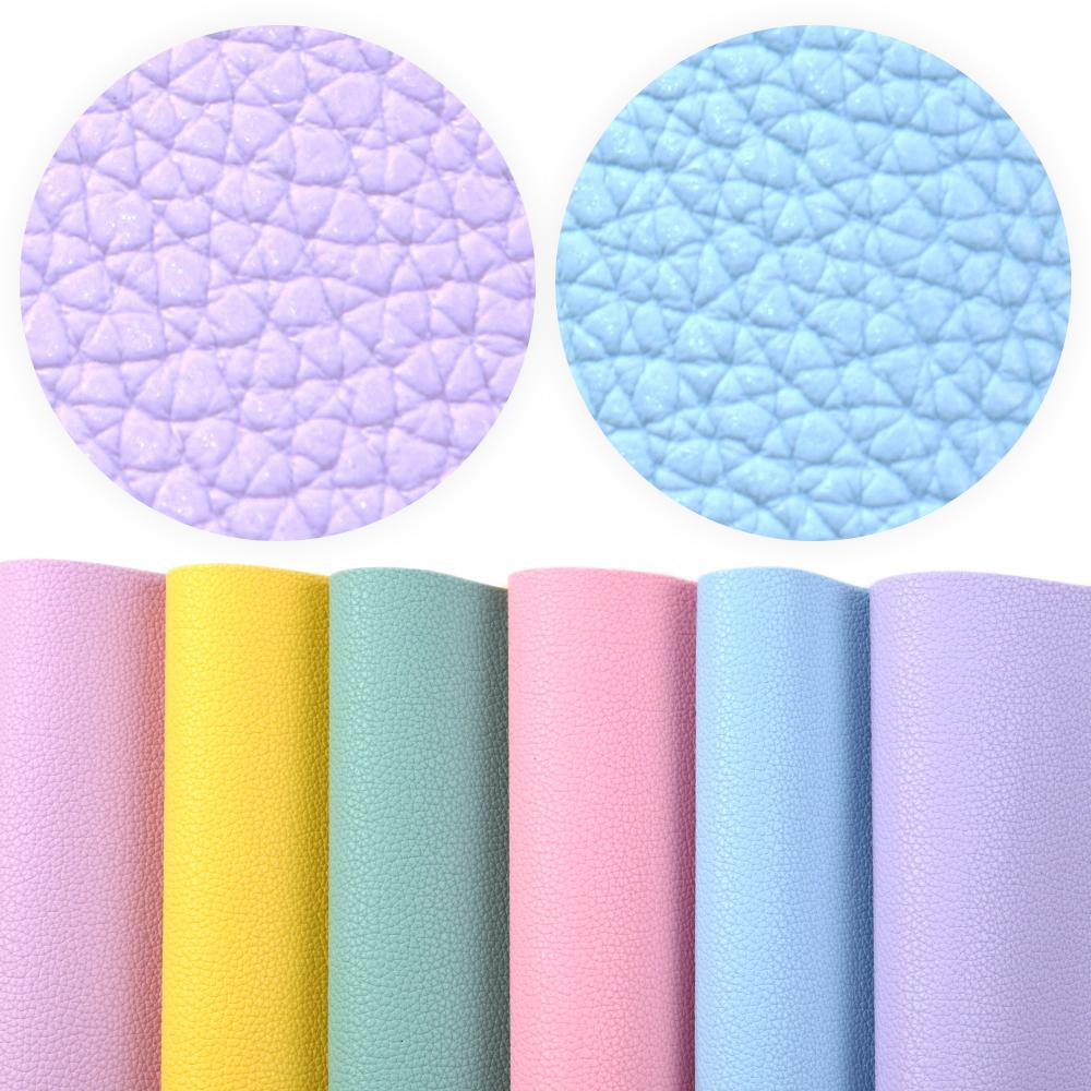 6pcs / set solido di colore del grano del litchi vinile Tessuto Faux Leather Sheet Set per orecchini Hairbow borsa Fare, 1Yc9793