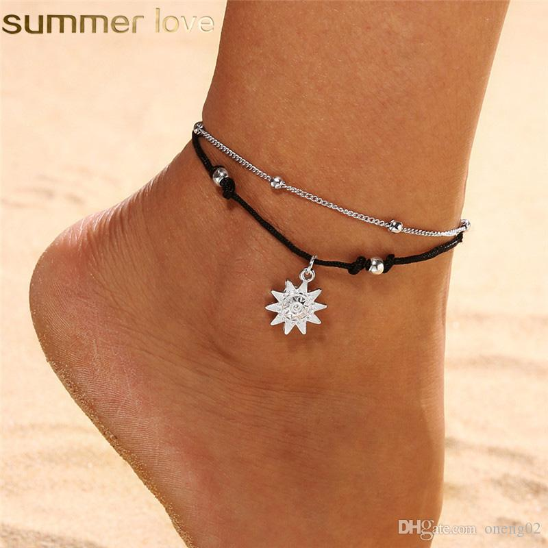 Bohemia Sun Pendant Beads Anklet Bracelet for Women in The Summer Leg Anklet Barefoot Beach Jewelry Gift Accessories