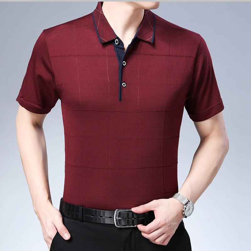 Os mais recentes verão Polos Homens Sólidos Turn-Down Collar manga curta Mens Slim Fit shirt Homens