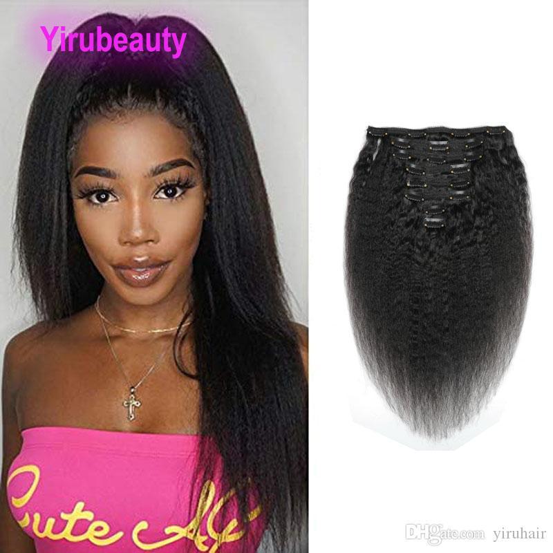 Virgen brasileña rizada Cabello liso 120 g de clip en extensiones del pelo 120g Kinky derecho Clip-On en el 100% del pelo humano del color natural