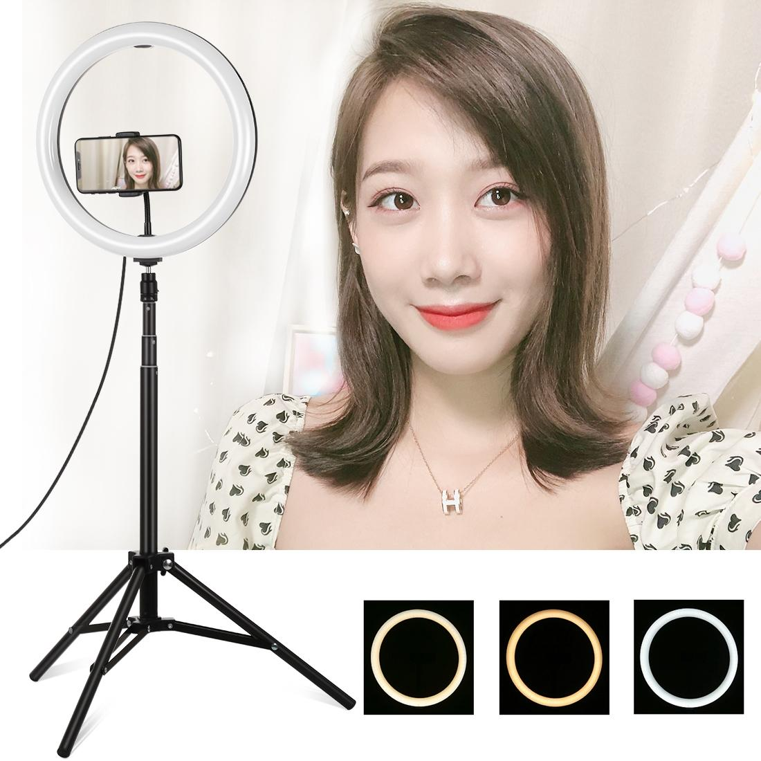 PULUZ 1.65m Curved Surface USB 3 Modes Dimmable Dual Color Temperature LED Ring Vlogging Video Light Live Broadcast Kits with Phone Clamp