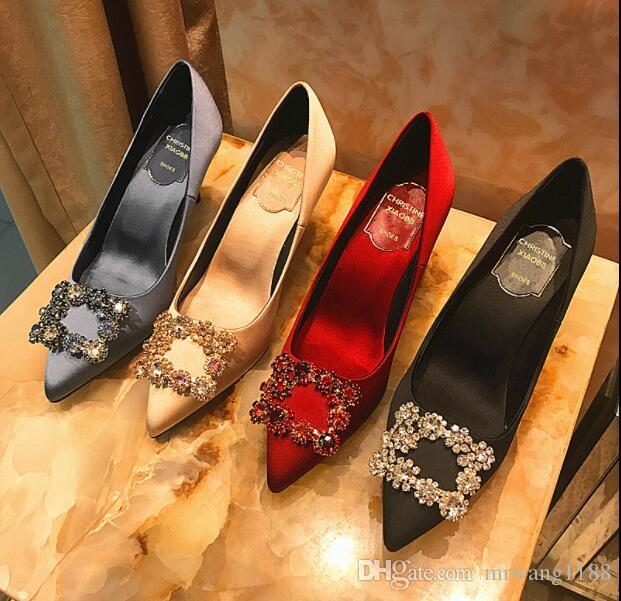 2019 nuevo Rhinestone Tacones altos seda superior o 6.5cm 8.5cm de estilete zapatos de los tacones fiesta de la boda MUJER Tamaño: EU34-40