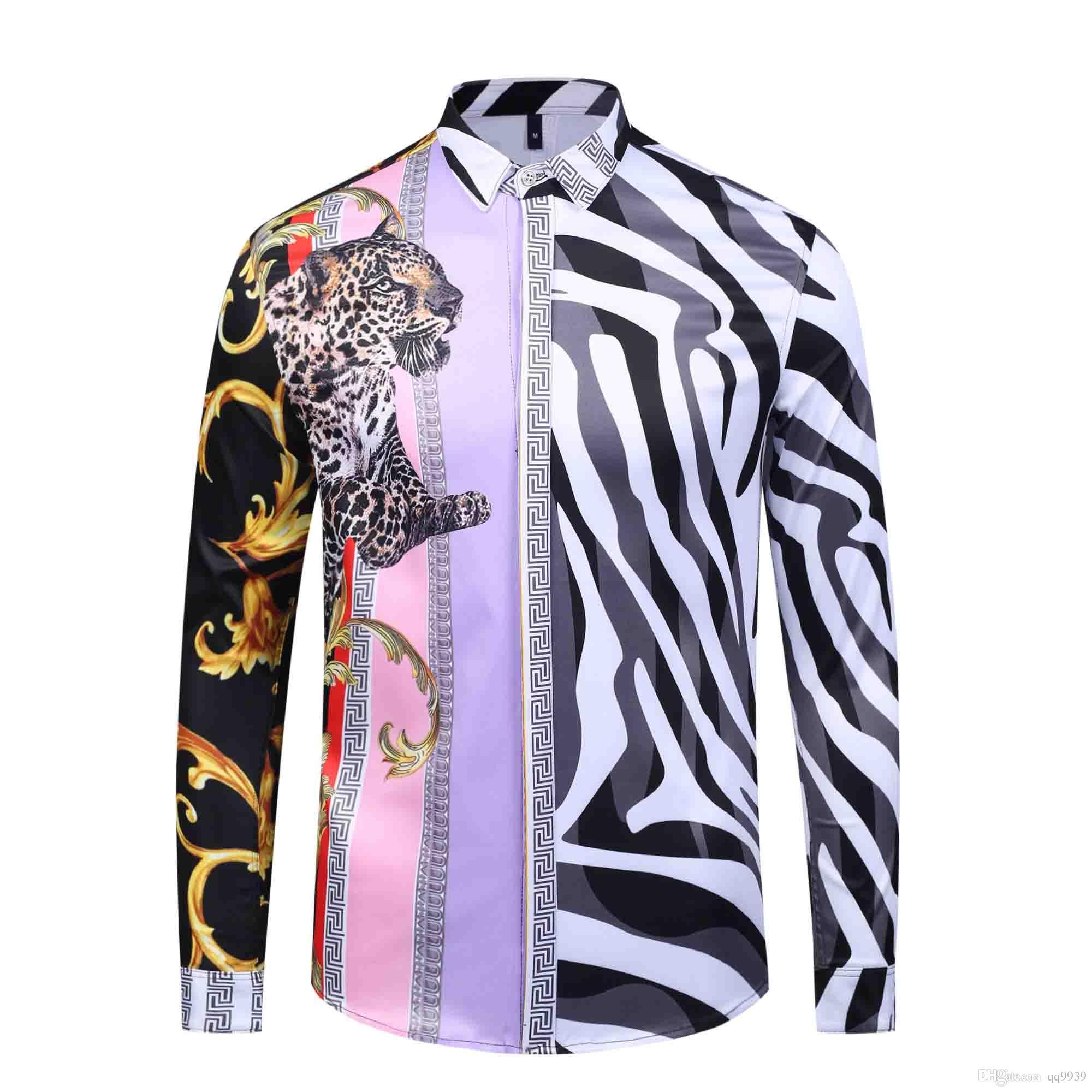 Homens fbi 3d floral tigre impressão mistura de cores de luxo casuais harajuku camisas de mangas compridas dos homens camisas medusa 4g m-2xl